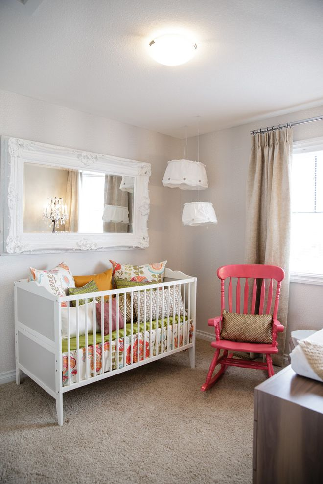 Ikea Gulliver Crib   Shabby Chic Style Nursery  and Carpeting Carved Wood Ceiling Light Crib Girls Room Gray Mirror Nursery Pendant Light Pillows Pink Prints Rocking Chair Window Treatment