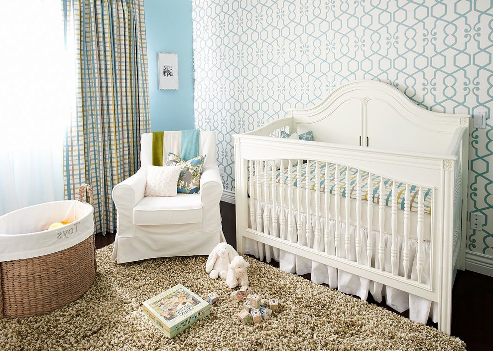 Ikea Gulliver Crib   Traditional Nursery Also Armchair Baby Room Basket Blue Wall Crib Bedding Curtain Cushions Mixed Patterns Nursery Shag Rug Slipcover Wallpaper White Crib