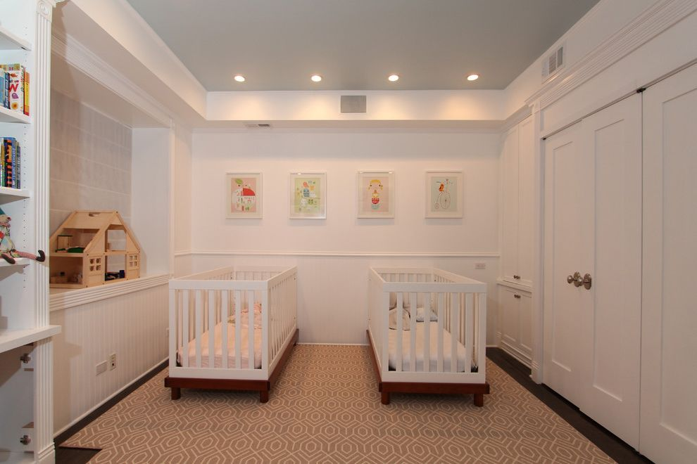 Ikea Gulliver Crib   Traditional Nursery Also Beige Closet Door Beige Cribs Beige Door Beige Patterned Rug Beige Wainscoting Beige Wall Built in Bookcase Built in Bookshelf Childrens Bedroom Cribs Dollhouse Double Cribs Graphic Art Nursery Two Cribs