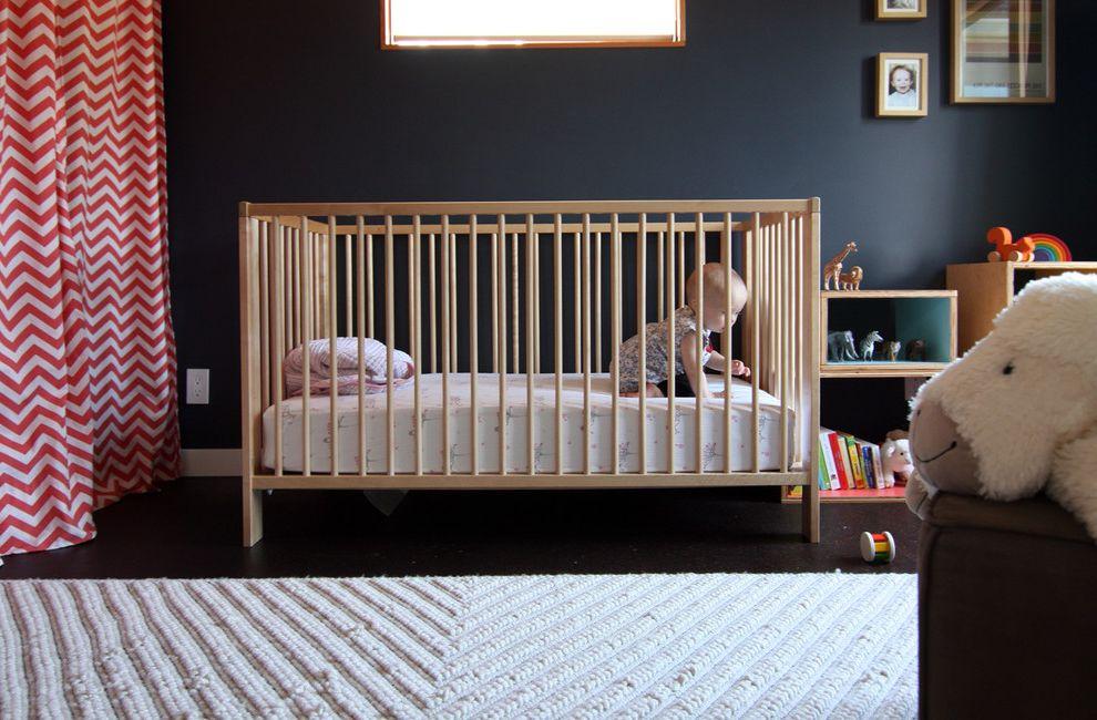 Ikea Gulliver Crib with Modern Kids Also Chevron Curtains Dark Walls Ikea Gulliver Crib West Elm Chevron Rug