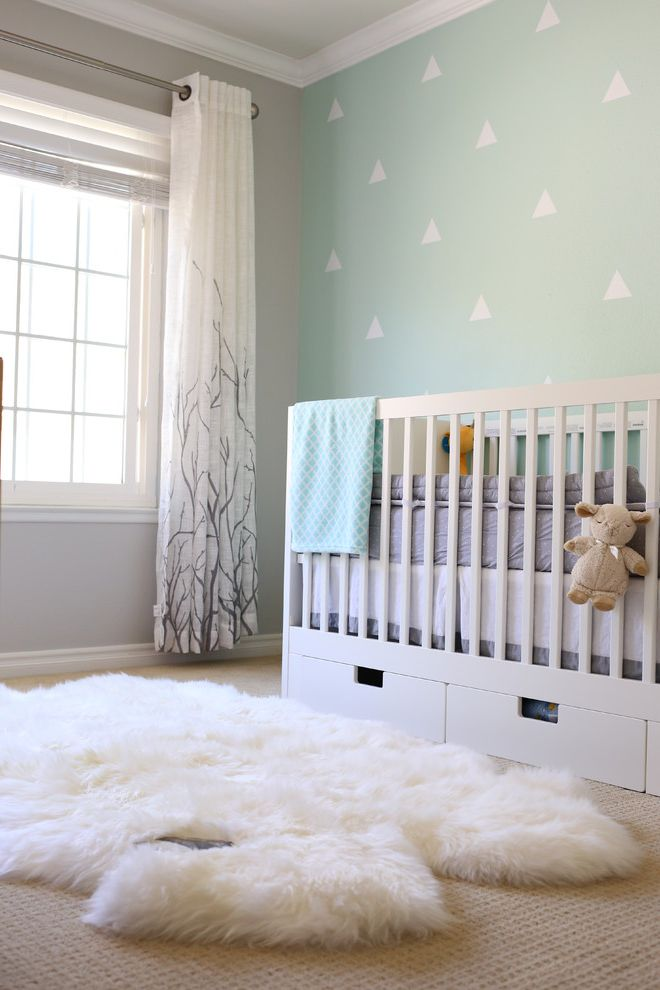 Ikea Gulliver Crib with Transitional Nursery  and Baby Boy Blue Blue Accent Branch Curtains Decals Nursery Sheepskin Rug Wallpaper Accent Wall White Gray White Crib White Furniture