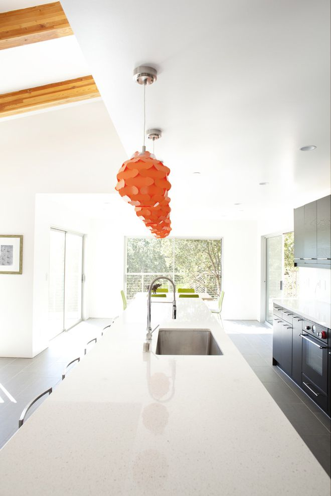 Ikea in Long Island   Contemporary Kitchen Also Aluminum Sliding Doors Contemporary Exposed Wood Beams Free Standing Island Modern Pendant Light Fixtures Silestone Quarz Countertop Steel Handrails Vaulted Ceiling
