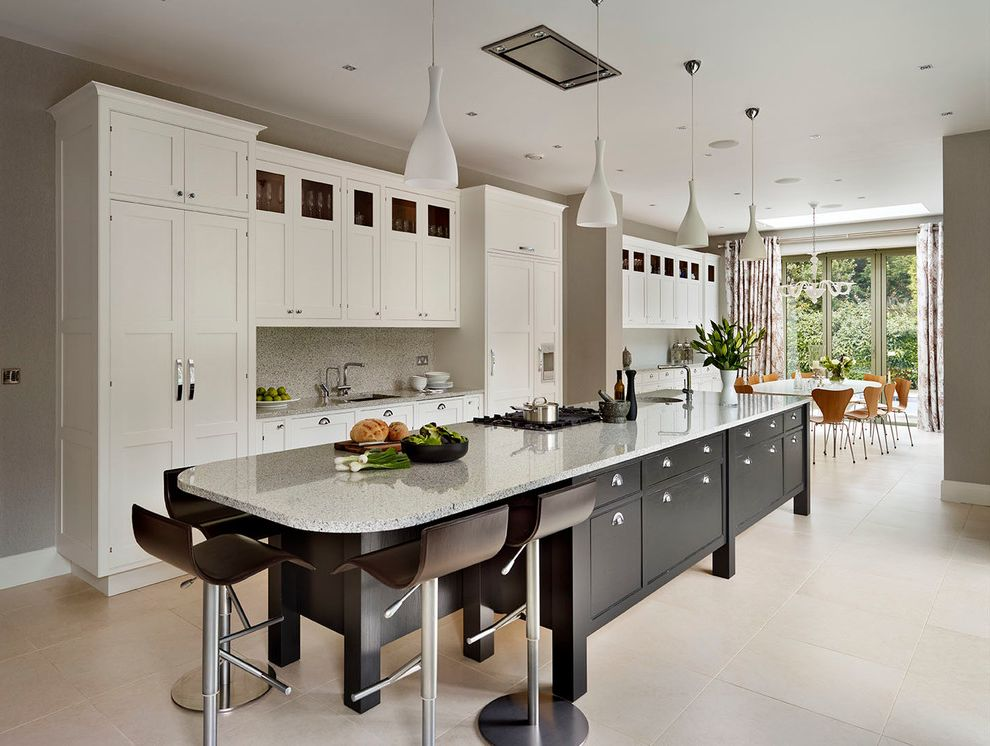 Ikea in Long Island with Transitional Kitchen  and Bar Stools Bespoke Kitchen Black and White Contrast Handpainted Kitchen Diner Log Kitchen Island Long Kitchen Island Luxury Kitchen Series 7 Chairs White Kitchen White Pendant Lights White Pendants