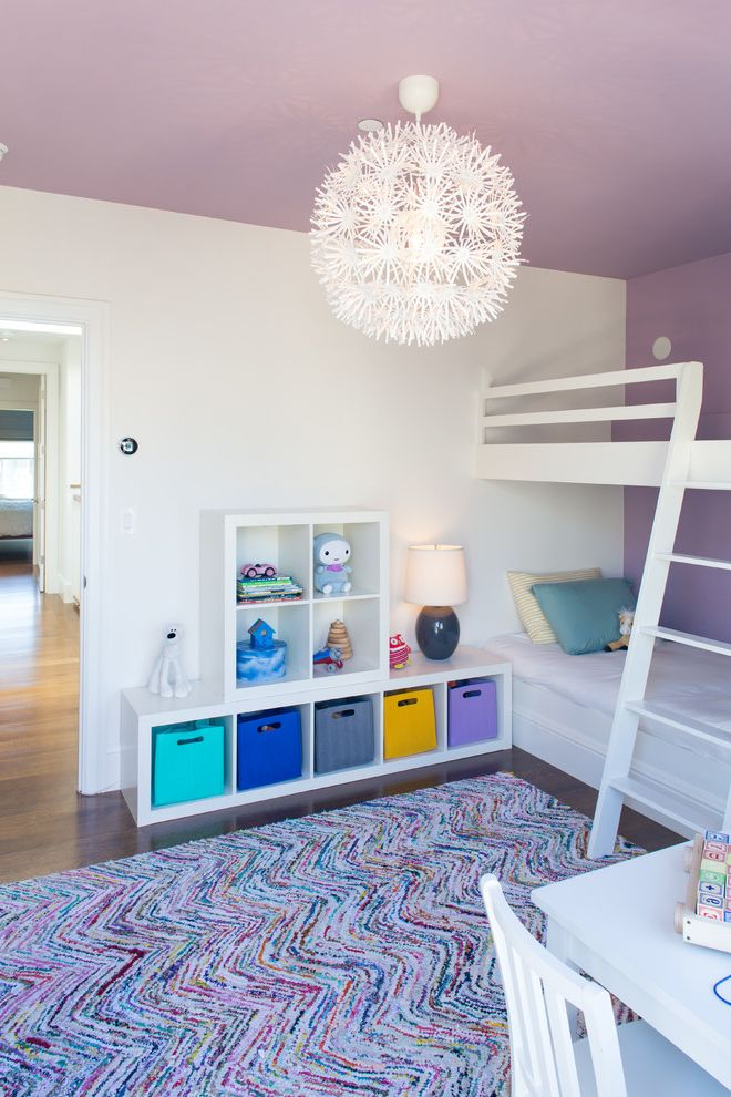 Ikea Kids Rugs   Contemporary Kids  and Baskets Bedding Bedroom Bunk Bed Colorful Area Rug Doorway Ladder Pendant Light Play Room Purple Ceiling Purple Wall Shelves Table Lamp Toy Storage White Chair White Desk White Furniture Wood Floors