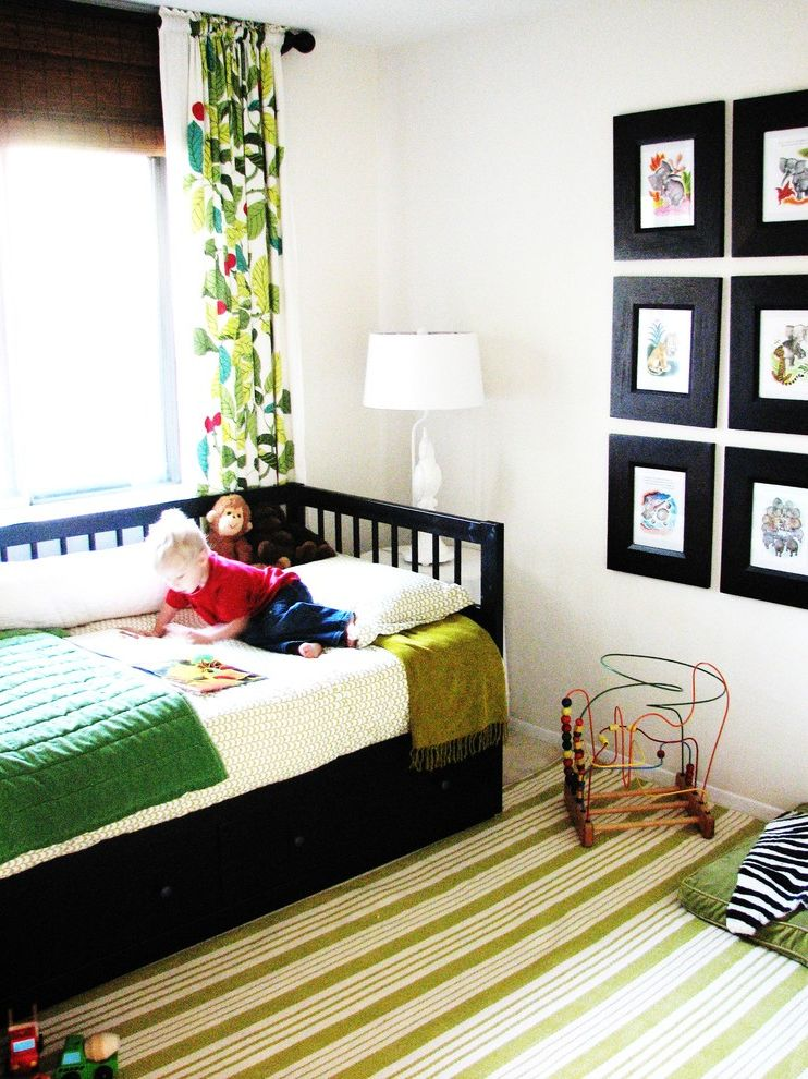 Ikea Kids Rugs   Eclectic Kids Also Area Rug Bedroom Bold Colors Bright Colors Curtains Day Bed Drapes Gallery Wall Stripes Table Lamp Twin Bed Under Bed Storage Wall Art Wall Decor Window Treatments