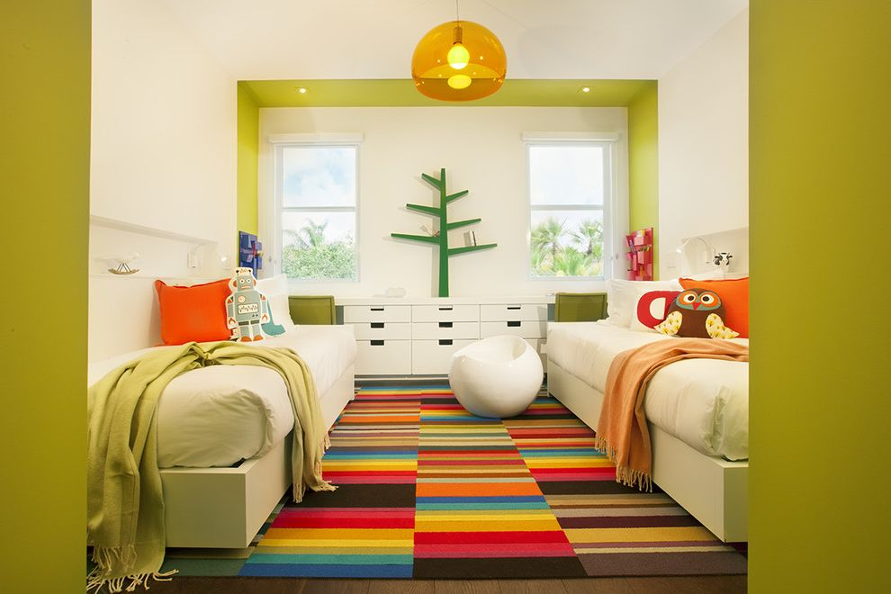 Ikea Kids Rugs with Contemporary Kids  and Built in Desk Colorful Rug Green Walls Orange Pendant Light Shared Bedroom Striped Area Rug Tree Bookshelf Twin Beds White Stool