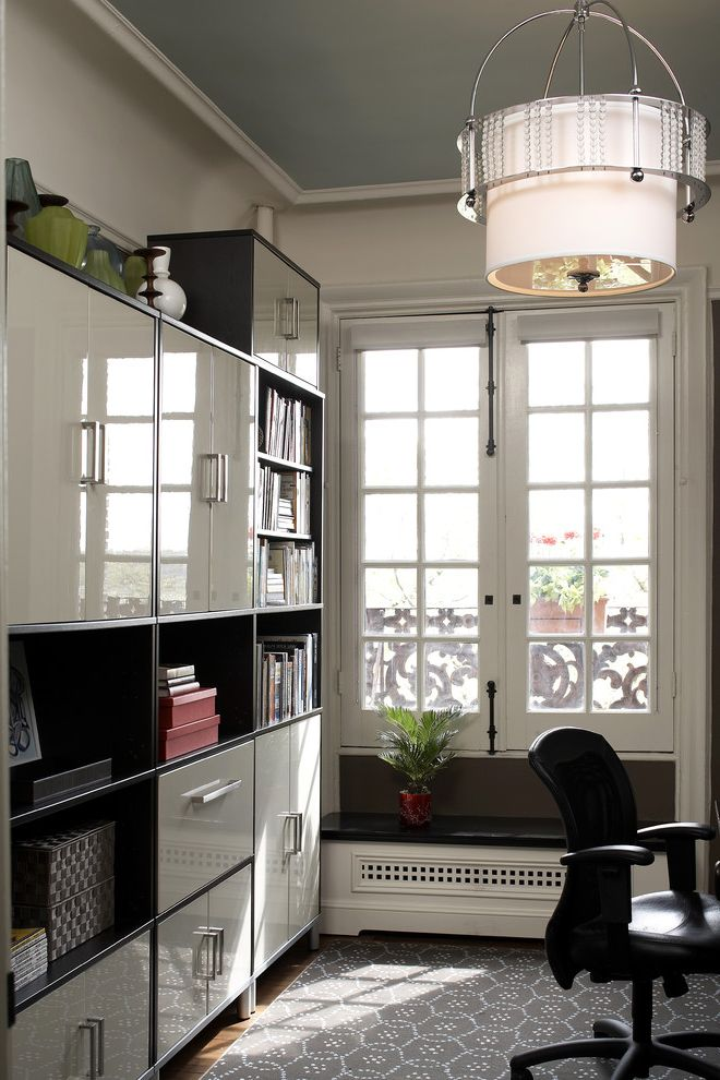 Ikea Rugs Usa   Contemporary Home Office  and Area Rug Bookcase Bookshelves Casement Windows Crown Molding Drum Pendant Filing System Neutral Colors Office Organization Office Storage Storage Boxes White Wood Wood Molding