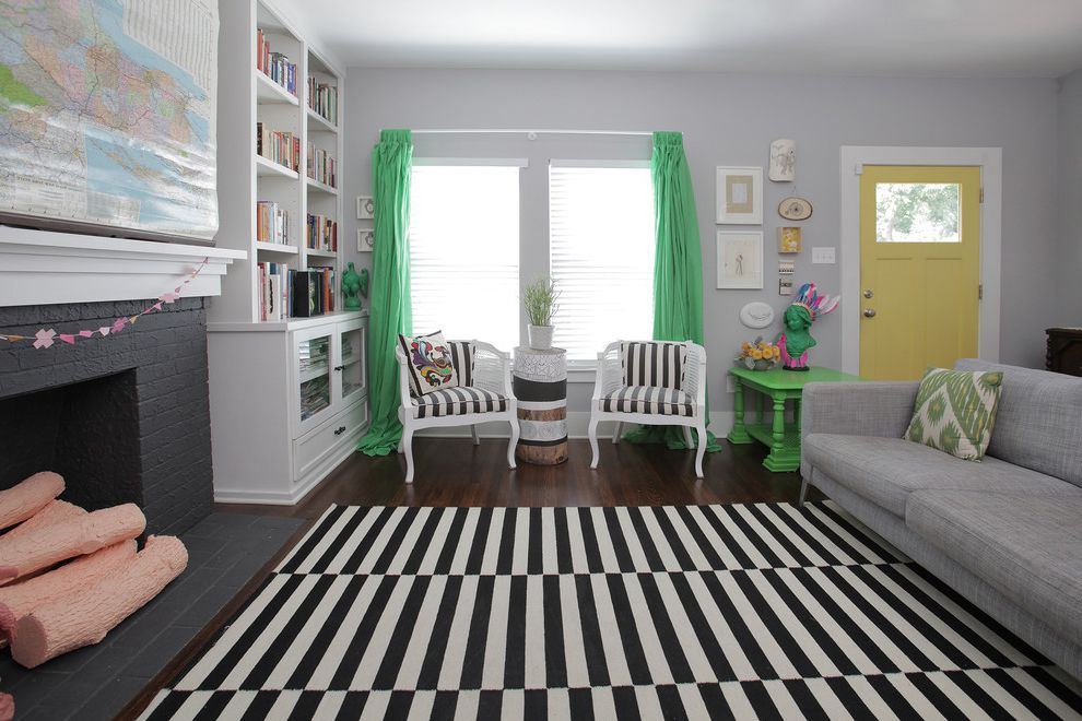 Ikea Rugs Usa with Shabby Chic Style Living Room  and Black and White Rug Black Fireplace Books Built in Cabinets Curtains Fake Logs Flea Market Gray Sofa Gray Walls Ikat Kelly Green Mantel Map Painted Brick Side Table Sofa Yellow Door