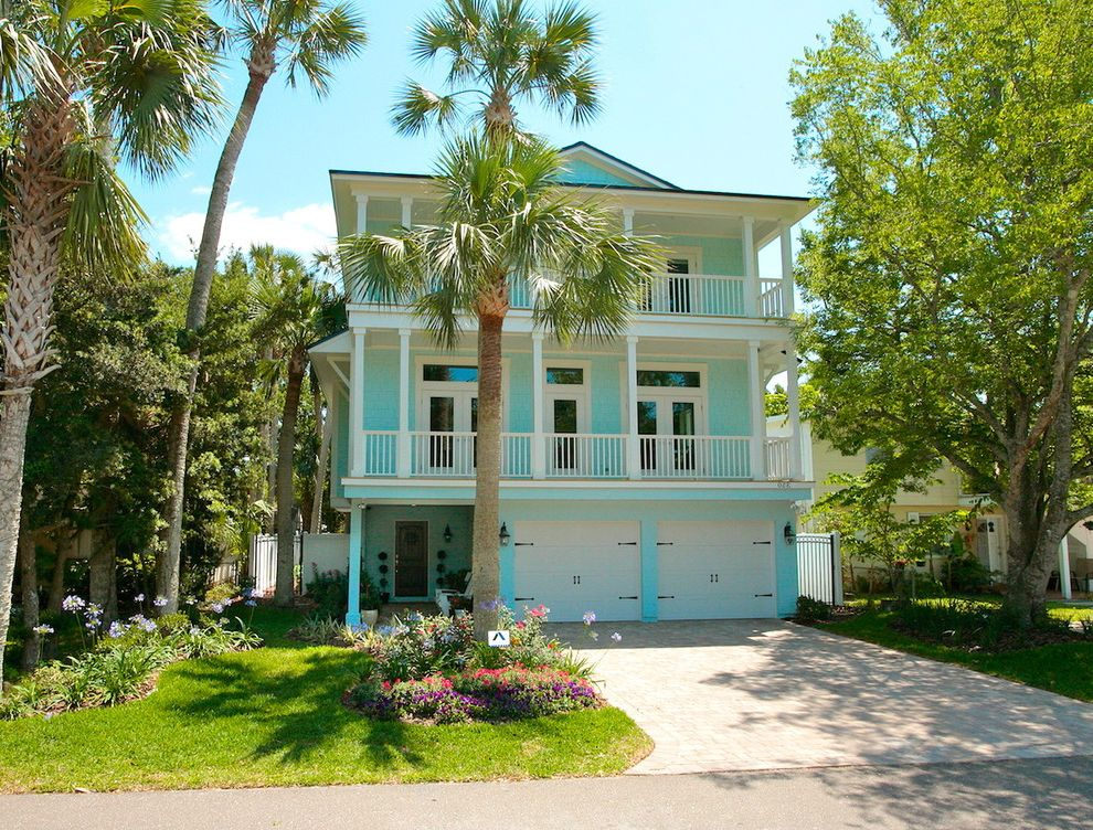 Impact Windows West Palm Beach with Tropical Exterior Also Balcony Beach House Carriage Doors Entrance Entry Garage Doors Grass Lawn Palm Trees Turf Turquoise