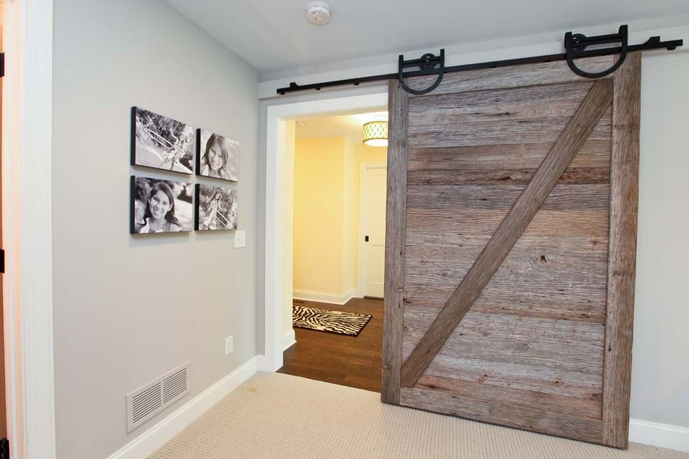Indoor Barn Doors   Rustic Hall  and Barn Door Reclaimed Sliding Wood Door Rustic Track Door