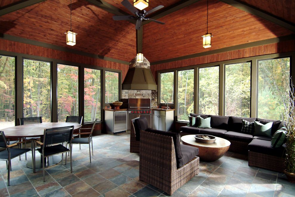 Indoor Water Park Grand Rapids Mi   Traditional Porch Also Fire Pit Hood Outdoor Kitchen Pendant Lights Porch Seating Area Slate Tall Windows Tile Floor Wood Ceiling Woven Furniture