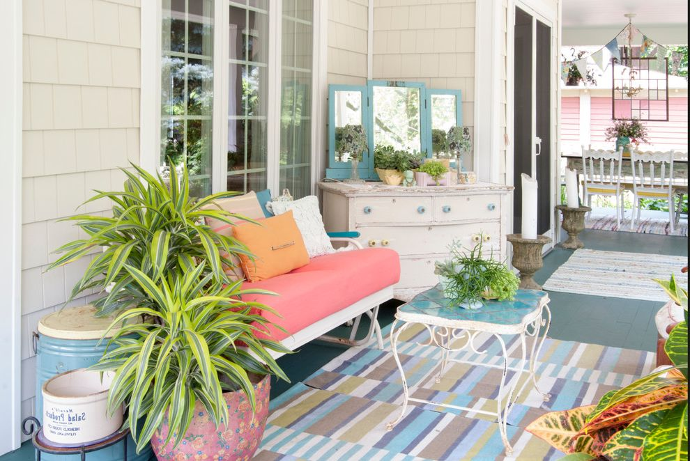 Inexpensive Dressers   Eclectic Porch Also Beige Shingle Siding Blue Painted Decking Gliding Bench Outdoor Rug Potted Plants Screen Door Striped Rug White Dresser
