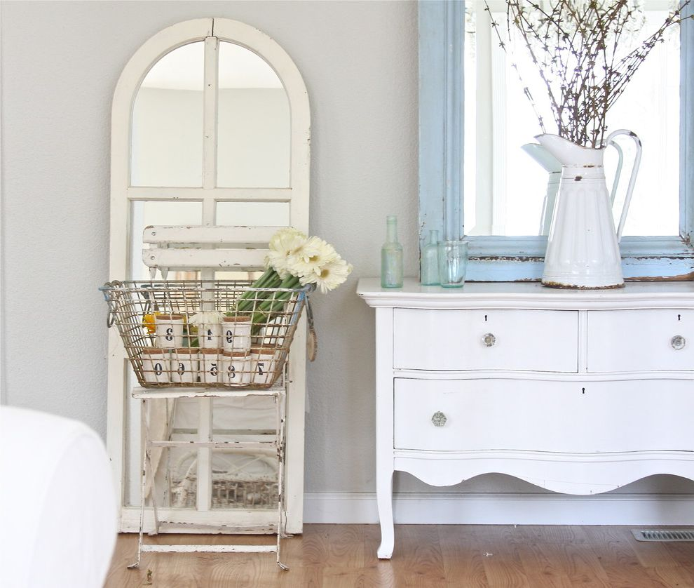 Inexpensive Dressers   Shabby Chic Style Bedroom Also Cafe Chair Chest of Drawers Dresser Folding Chair French Country Glass Drawer Pulls Grey Wall Leaning Mirror Neutral Colors Painted Wood Reclaimed Furniture Shabby Chic Wall Mirror Wood Flooring