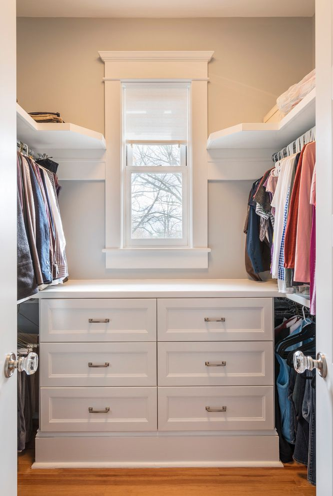 Inexpensive Dressers   Traditional Closet  and Drawers Gray Wall Hanging Storage Medium Wood Flooring Recessed Panel White Cabinets White Ceiling White Countertop White Shelves White Trim Window in Closet