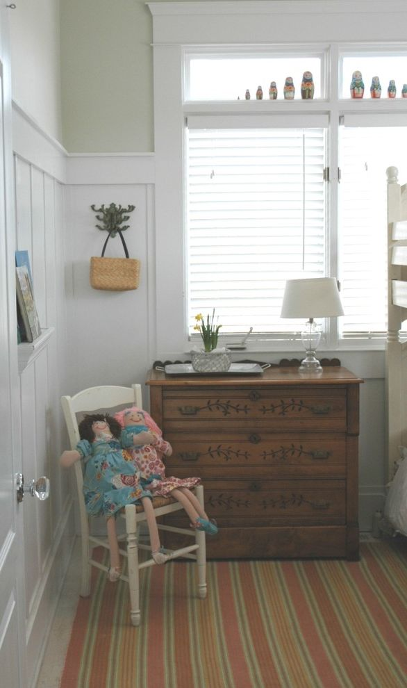 Inexpensive Dressers with Farmhouse Kids Also Area Rug Bedroom Chest of Drawers Cottage Dresser Farmhouse Girls Room Girls Room Ledge Rustic Striped Rug Wainscoting Wall Hooks Wall Shelves White Wood Wood Trim