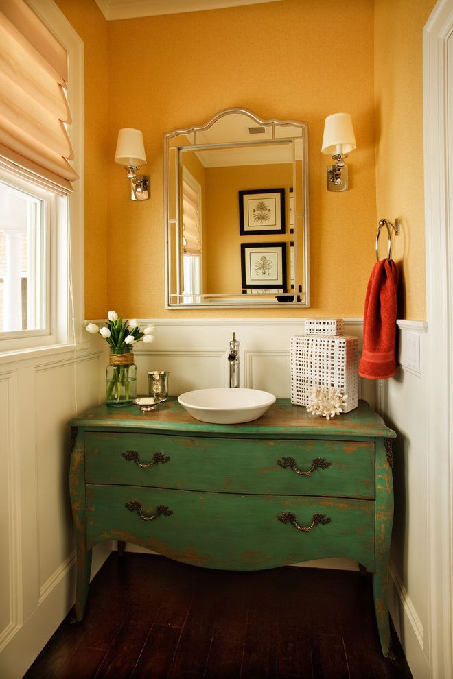 Inexpensive Dressers with Traditional Powder Room  and Bathroom Mirror Chest Converted to Sink Vanity Distressed Finish Rustic Sconce Small Bathroom Vessel Sink Wainscoting Wall Lighting White Wood Wood Molding Wood Trim Yellow Walls