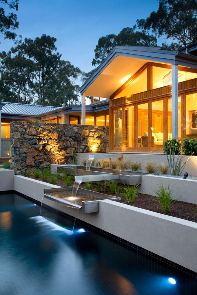 Inground Pool Water Features with Contemporary Landscape Also Back Yard Garden Landscape Landscaping Landscaping Victoria Melbourne Modern Landscape Outdoor Living Pool Pools Steps Victoria Water Fall Water Feature Waterfall