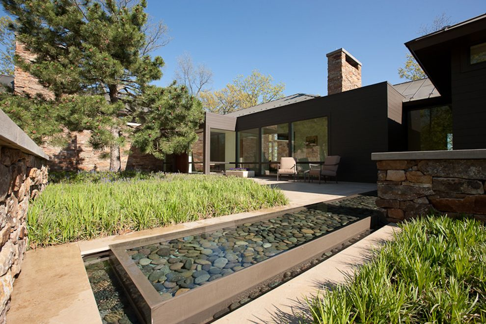 Inground Pool Water Features with Contemporary Landscape Also Mass Planting Minimal Outdoor Cushions Patio Furniture Pine Tree Pond Reflecting Pond River Pebbles Stone Wall Zen