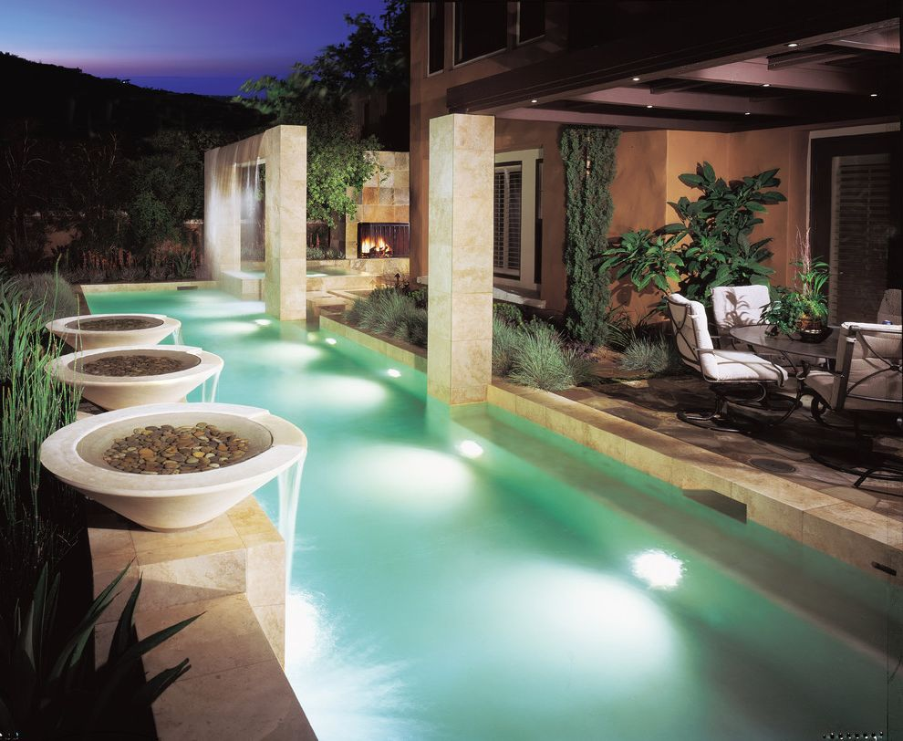 Inground pool water features with contemporary pool and for Repurpose inground swimming pool