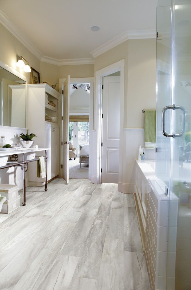 Installing Vinyl Plank Flooring   Contemporary Bathroom  and Contemporary
