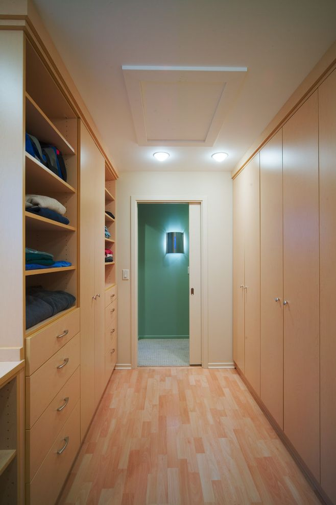 Insulated Attic Access Door with Contemporary Closet and Baseboards Built in Cabinets Built in Storage Ceiling Lighting Closet Pocket Door Sliding Door Walk in Closet Wood Flooring