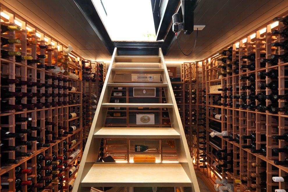 Insulated Attic Access Door with Contemporary Wine Cellar and Backlighting Built in Wine Racks Sunken Wine Cellar Wine Storage Wood Racks Wooden Staircase