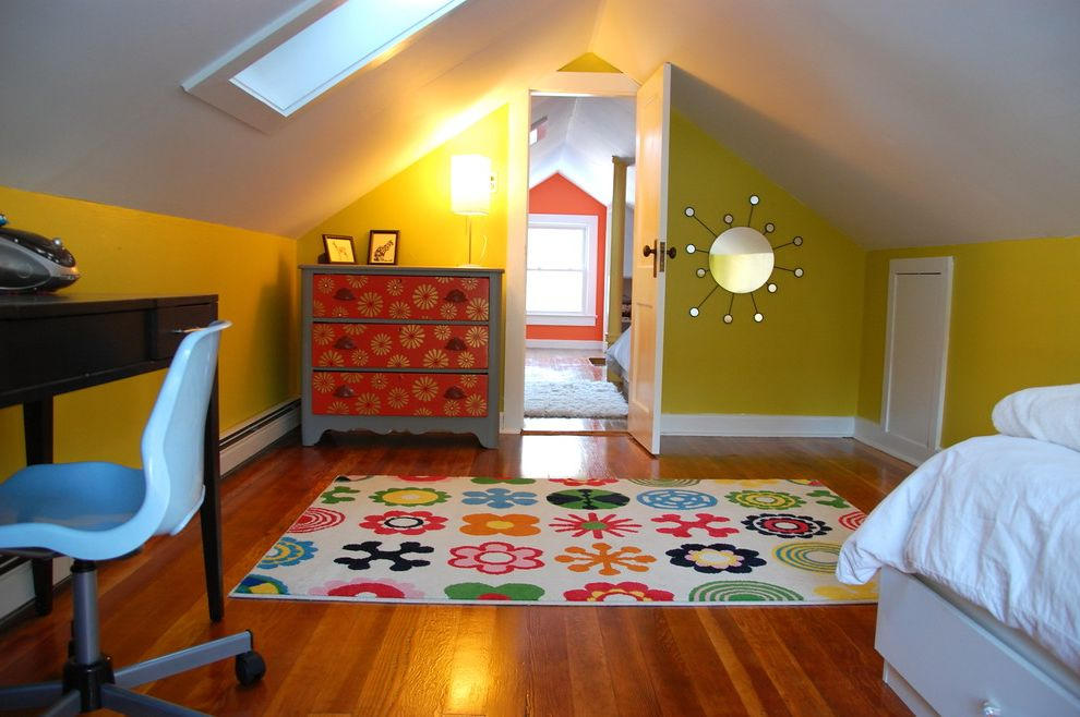 Insulated Attic Access Door with Eclectic Kids and Area Rug Attic Skylight Bed Desk Dresser Duvet Mirror Vaulted Ceiling Wood Floor Yellow