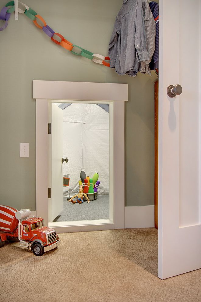 Insulated Attic Access Door with Traditional Kids and Alcove Attic Space Bowling Pins Carpeting Cement Truck Clothes Crawl Space Cubby Dresser Gray Kids Nook Paper Chain White Trim