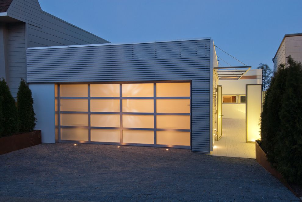 Insulated Glass Garage Doors with Modern Entry Also Entrance Flat Roof Frosted Glass Garage Garage Door Metal Paneling Outdoor Lighting