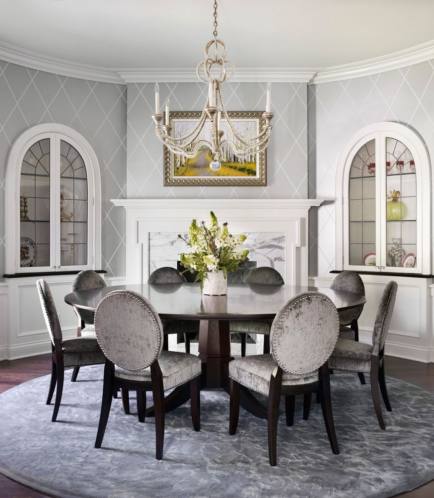 Interior Designers Charleston Sc with Traditional Dining Room and Built in Cabinet China Cabinet Fireplace Grey Wallpaper Molding Pedestal Table Round Dining Table Round Rug Round Table Upholstered Chair Upholstered Dinning Chair Wallpaper White Trim