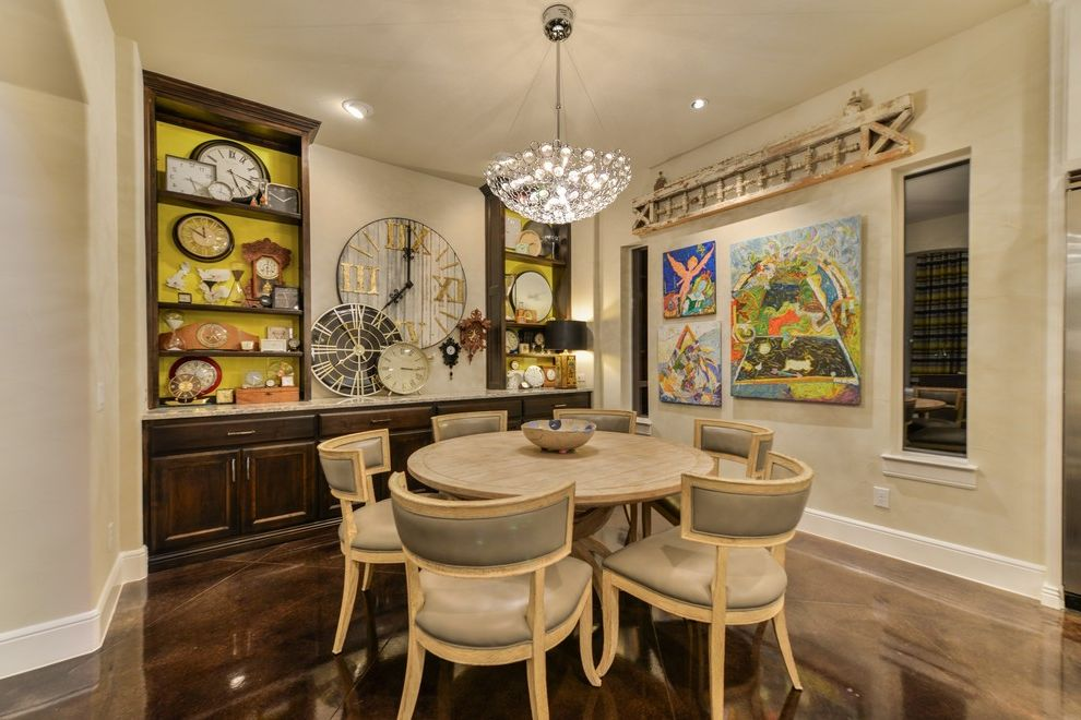 Inverness San Antonio   Contemporary Dining Room Also Breakfast Nook Built in Clock Dark Wood Fabric Chair Open Niche Open Plan Pendant Light Stained Concrete Time Yellow