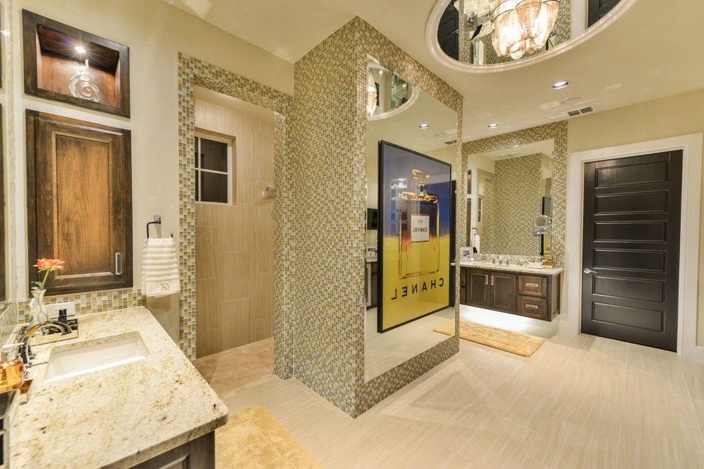 Inverness San Antonio with Contemporary Bathroom  and Art Light Art Niche Black Door Ceiling Detail Chanel Contemporary Dome Fancy Light Large Mirror Medicine Cabinet Mirror Ceiling Modern Mosaic Tile Tile Undermount Sink Walk in Shower Wood Cubbie