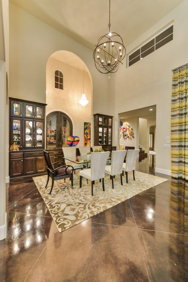 Inverness San Antonio with Contemporary Dining Room Also Area Rug Built in Cina Cabinet Clearstory Window Custom Curtian Dark Wood Fabric Chair Glass Art Glass Uppers High Ceiling Modern Door Open Niche Open Plan Pendant Light Stained Concrete