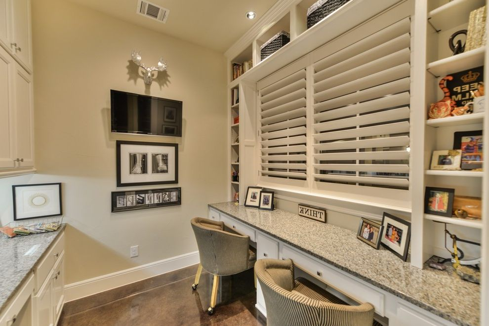 Inverness San Antonio with Transitional Home Office Also Built in Desk Granite Top Molding Moose Roll Chair Under Counter Light White White Cabinet Wood Blinds