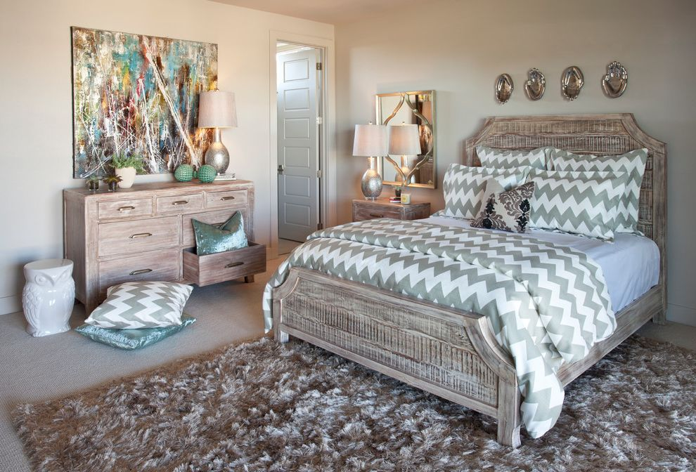 Iometro   Eclectic Bedroom Also Area Rug Artwork Chevron Distressed Finish Dresser Mirror Nightstand Owl Ceramic Stool Table Lamps Tile Flor