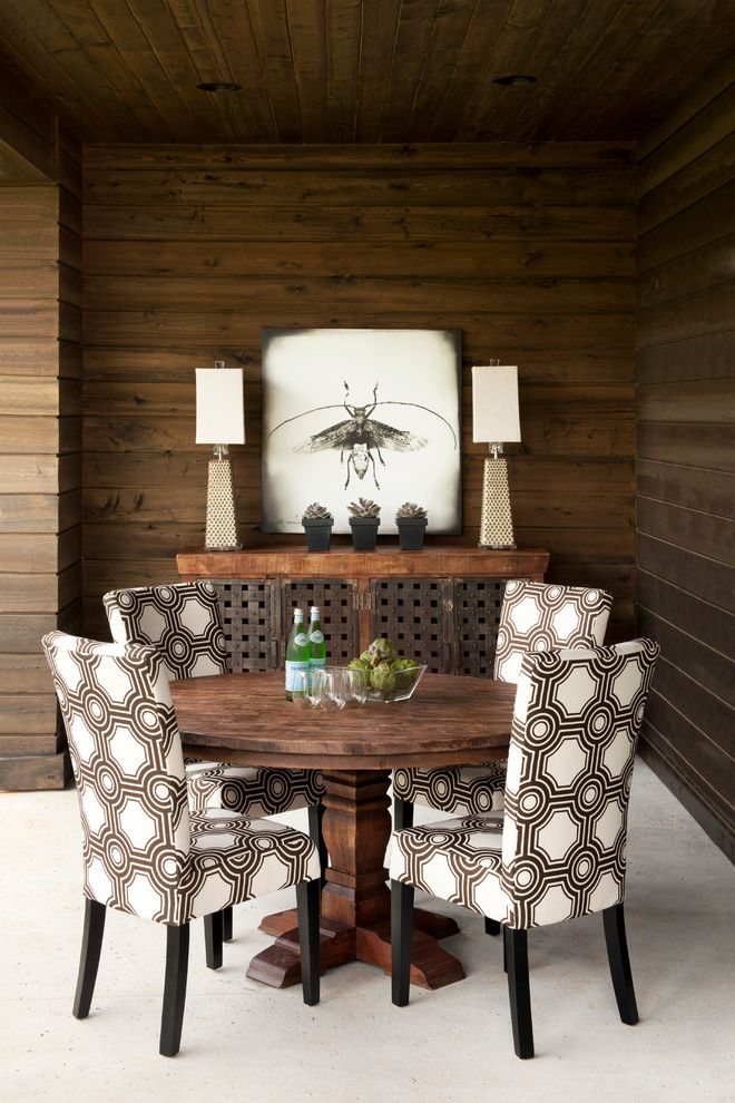 Iometro   Eclectic Dining Room Also Artwork Buffet Pedestal Table Printed Fabric Upholstery Table Lamps Tongue and Groove Wood Ceiling Wood Walls