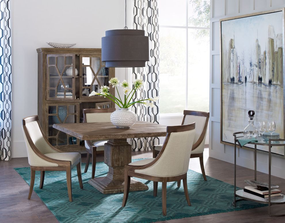 Iometro with Transitional Dining Room  and Blue Rug Decanters Eclectic Eclectic Dining Tables Framed Art Large Artwork Modern Neutral Oversized Art Square Wood Dining Table Wood and Fabric Dining Chair