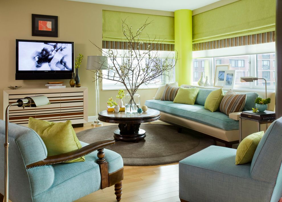 Ion Mount Pleasant   Contemporary Living Room Also Aqua and Lime Branches Brown Rug Floor Lamp Media Cabinet Pedestal Coffee Table Roman Shade Rond Coffee Table Round Rug Striped Console Stripes Throw Pillows Turquoise Wall Mounted Tv