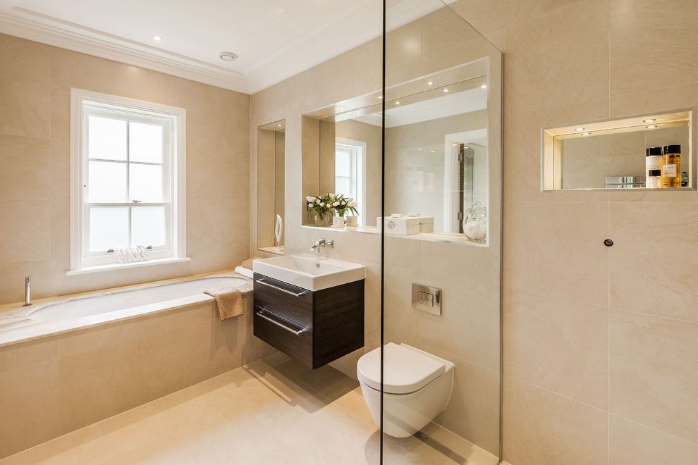 Ion Mount Pleasant with Contemporary Bathroom  and Alcove Tub Beige Tile Contemporary House Integrated Sink Luxe Luxury Modern Open Shower Wall Mounted Bath Faucet Wall Mounted Sink Wall Mounted Toilet White Trim Windows