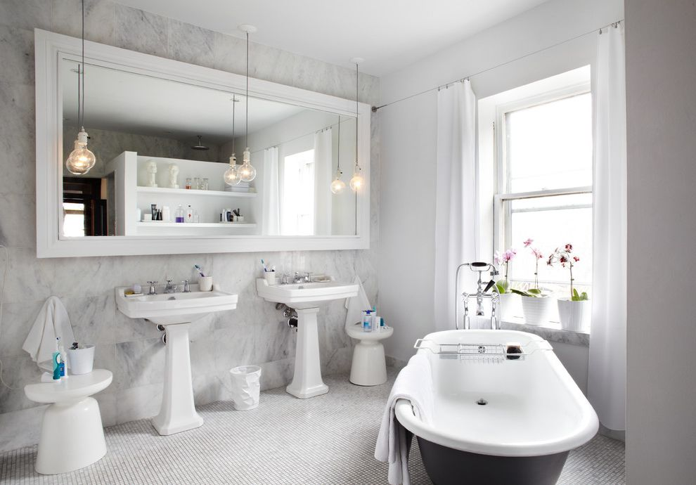 Iowa City Plumbers   Contemporary Bathroom Also Accent Stools Bulb Pendant Lights Clawfoot Tub Curtains Large Mirror Marble Marble Ledge Marble Wall Open Shelving Orchids Pedestal Sinks Plants Soaking Tub Tile Floor Vintage Tub Window Treatment