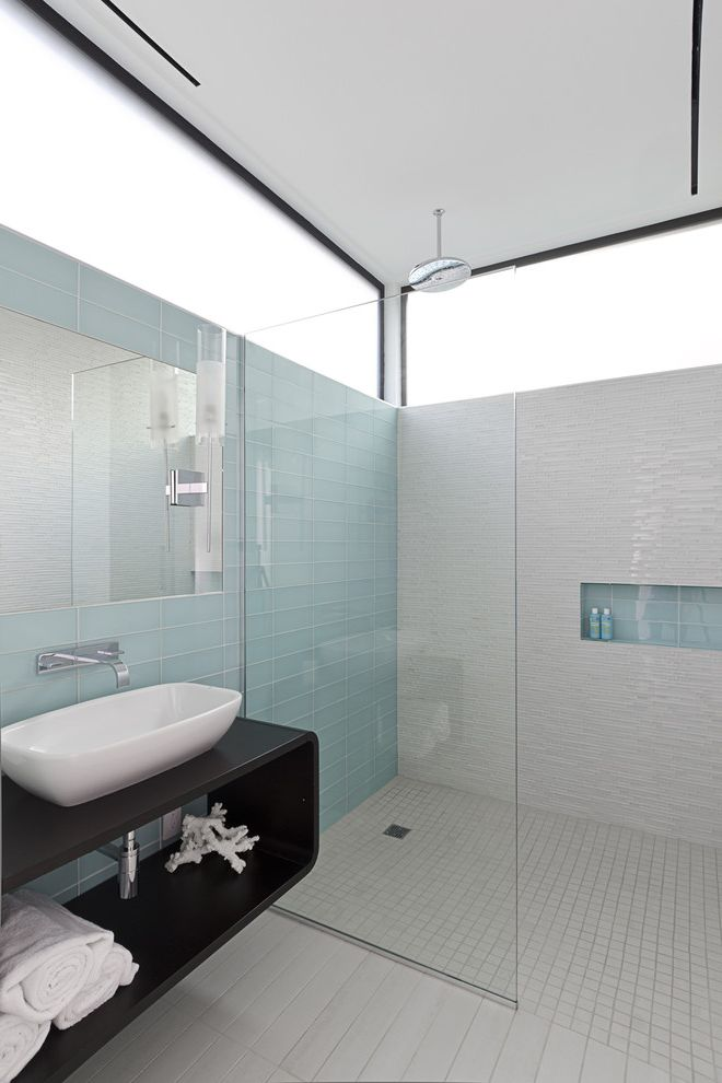 Iowa City Plumbers   Modern Bathroom  and Bath Chrome Frosted Windows Glass Tile Guest Bath Light Modern Modern Bath Porcelain Tile Rain Shower Head Rainshower Spa Vessel Wall Faucet Wall Hung Cabinet Wall Mount Faucet