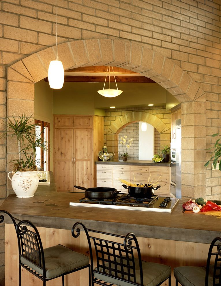 Is Asphalt Cheaper Than Concrete with Rustic Kitchen Also Arched Doorway Bowl Chandelier Breakfast Bar Brick Walls Eat in Kitchen House Plants Pendant Lighting Rustic