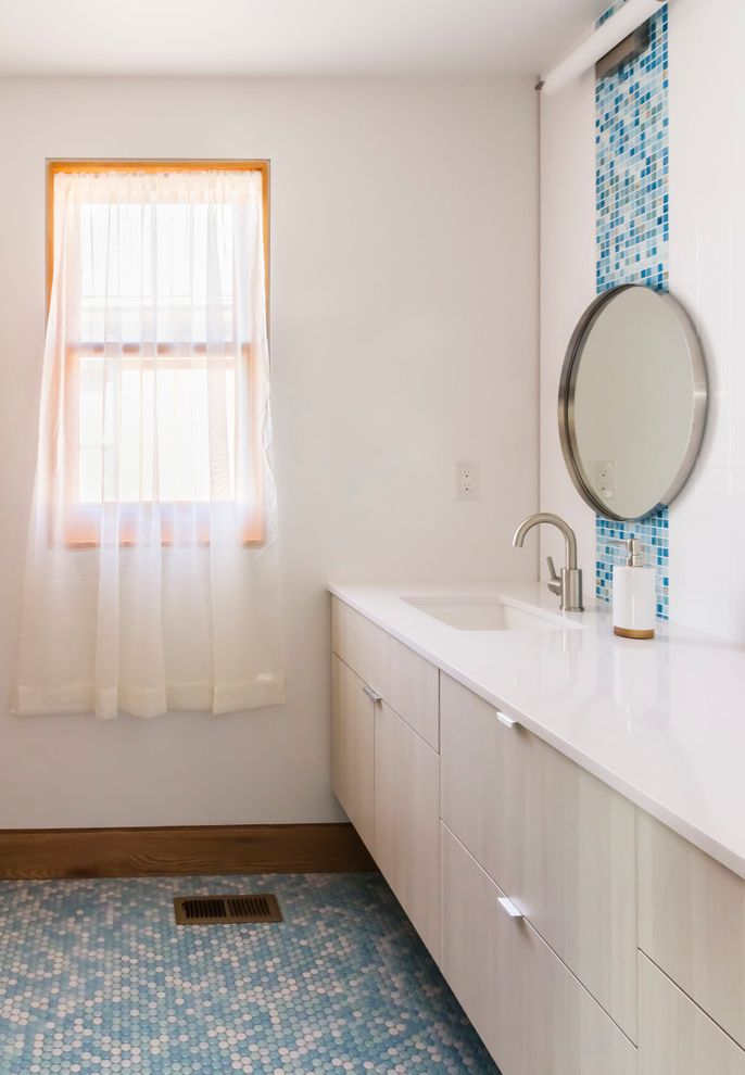 Is It Okay to Use Wall Tiles on the Floor   Contemporary Bathroom Also Blue and White Blue Mosaic Floor Tile Double Vanity Edge Pulls Floating Vanity Flush Baseboard Girls Bathroom Pennyround Tiles Porcelain Floor Tile Round Mirror Sheer Whtie Curtain