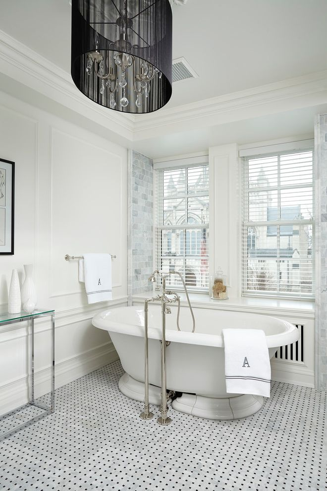 Is It Okay to Use Wall Tiles on the Floor   Victorian Bathroom  and Basketweave Floor Tile Drum Shade Chandelier Floor Mounted Tub Filler Framed Art Glass Console Table White Wall Paneling