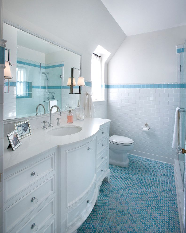 Is It Okay to Use Wall Tiles on the Floor with Traditional Bathroom Also Accent Tile Band Accent Tile Strip Curved Cabinet Mosaic Floor Tile Penny Tile Floor Wall Sconce White Countertop