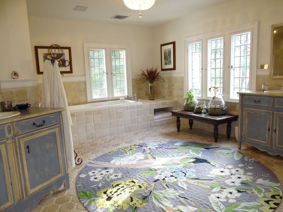 Is It Okay to Use Wall Tiles on the Floor with Traditional Bathroom Also Alcove Tub Blue and White Cabinets Casement Windows Circular Rug Coat Rack Distressed Cabinets Master Bath Picture Rail Round Rug Two Sinks Two Vanities