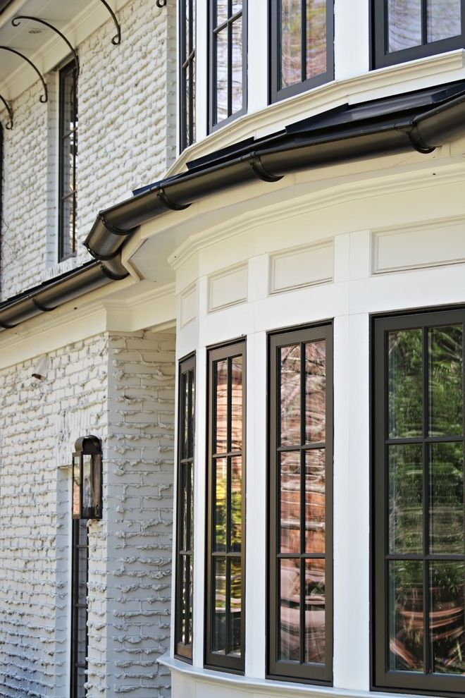 Jeld Weld Windows   Traditional Exterior  and Arts and Crafts Bay Brackets Brick Bronze Casement Gutters Light Open Panels Renovation Residential Architect Ribbon Windows Voysey Weeping Mortar Windows