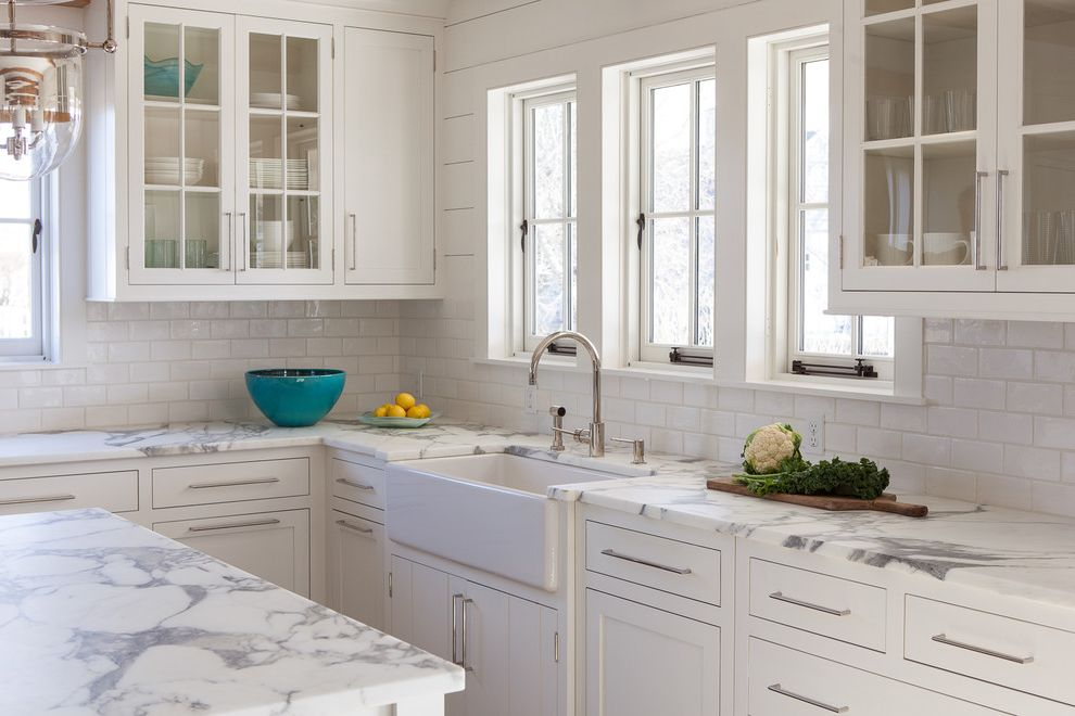 Jen Weld Windows   Beach Style Kitchen Also Beach Cottage Big Island Contempory Interior Farmhouse Sink Glass Front Cabinets Island Marble Countertops Nantucket Nantucket Style White Subway Tiles