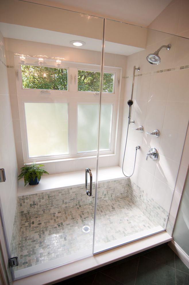 Jen Weld Windows   Traditional Bathroom Also Bathroom Frosted Green Lighting Natural Light Privacy Glass Shower Shower Bench Tile White Window