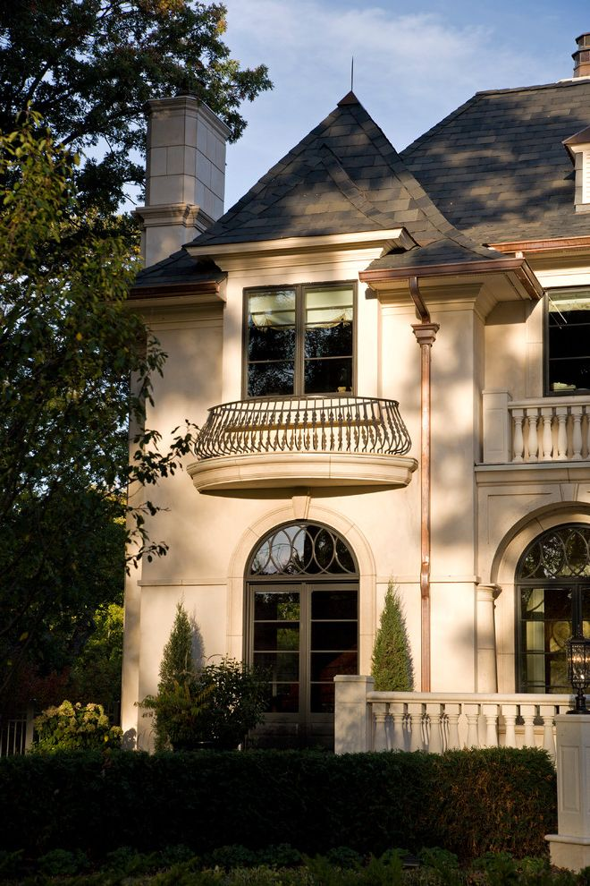 Jen Weld Windows with Traditional Exterior Also Bronze Windows Provence Wrought Iron Met Chateau French Stucco Slate Dormer Balcony Poolside French Provincial Chateau Slate Provincial